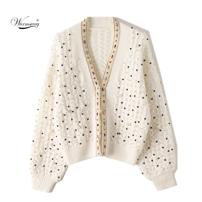 Female Runway Sweater Elegant Knitted Coat Autumn Winter Clothes Loose Pearl Beading  Casual Cardigans Women Tops CY-081