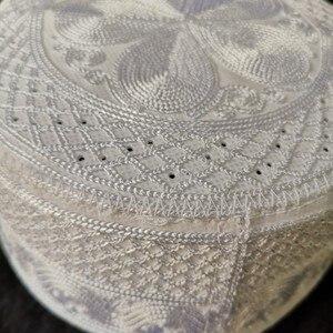 Image 3 - Musulman White Prayer Hats Beanie kippah Arabic Islamic Caps For Men Headscarf Islamic Man Bonnet India Muslim Weaving Halal Hat