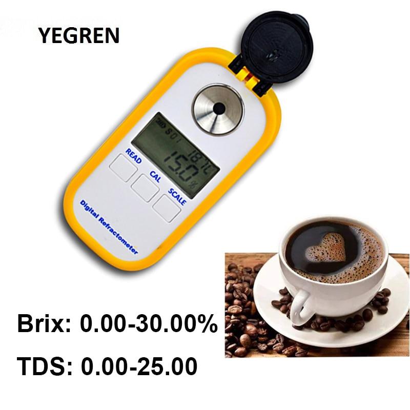 Café portátil TDS 0-30% Brix Refratômetro Tester Conteúdo 2-25% Concentração TDS Medidor Digital Display para Café teste