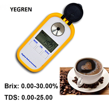 Portable Coffee TDS Refractometer 0-30% Brix Content Tester 2-25% TDS Meter Digital Display for Coffee Concentration Test