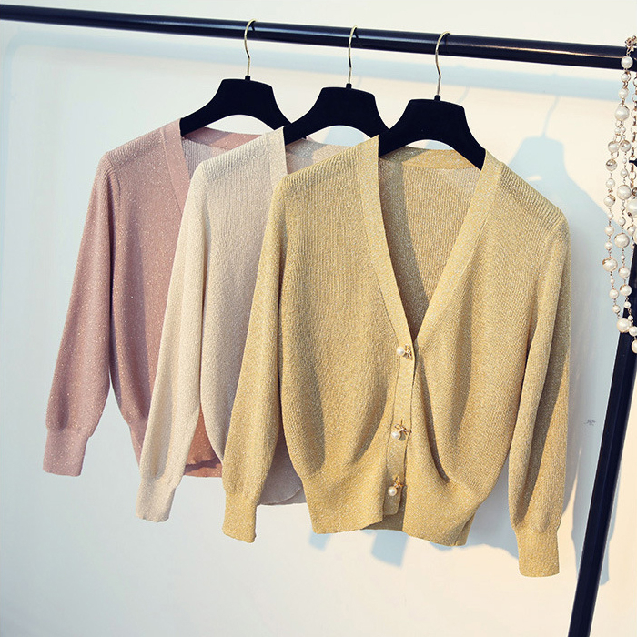 Queechalle Yellow Pink Apricot White Black Khaki Women Knitted Cardigans Female V Neck Long Sleeve Casual Thin Short Coat Ladies