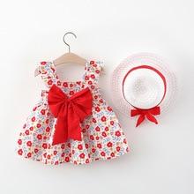 Baby Girl Summer Dresses Big Bow Tutu Cute Mesh Princess Dress for Girls Toddler Kids Dress + Hat Child Baby Girl Clothes