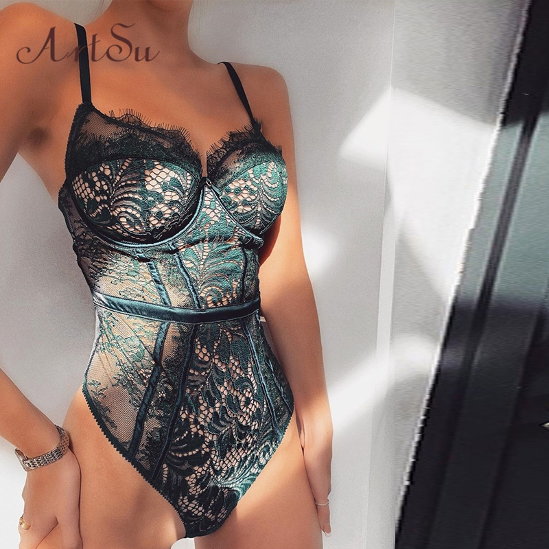ArtSu 2019 Sexy Mesh Lace Bodysuit Transparent Straps Sleeveless Teddy Catsuit One Piece Romper Bodysuits New ASJU60601
