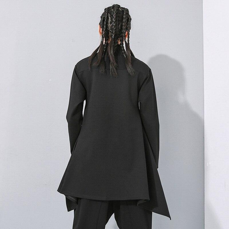 [EAM] Loose Fit Black Split Asymmetrical Sweatshirt New Turtleneck Long Sleeve Women Big Size Fashion Tide Spring 2020 1N482 3