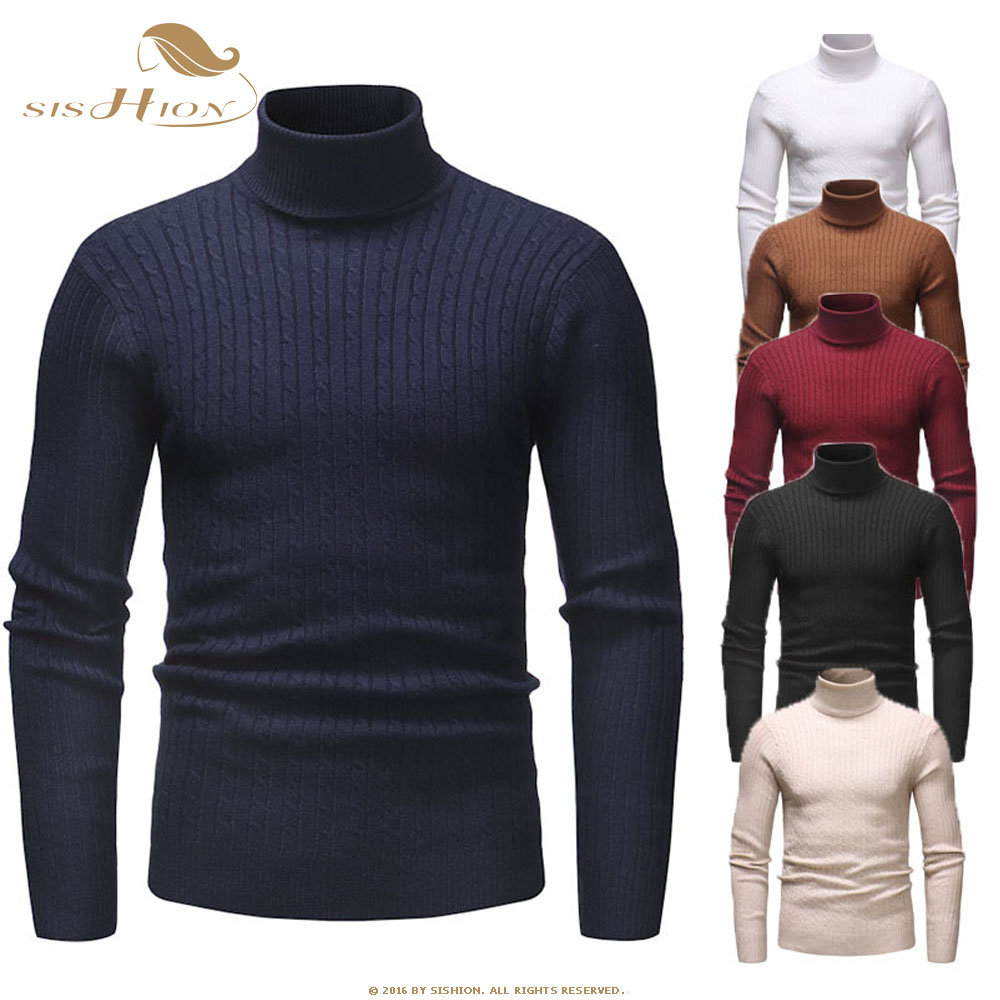 SISHION 2019 Autumn Warm Turtleneck Sweater Men Fashion Solid Knitted Mens Sweaters QY0336 Casual Mem Slim Pullover