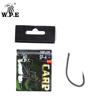 W.P.E Brand TEFLON Coated 30pcs/lot Fishing Hooks 2#/4#/6#/8# Tackle Barbed Hook Carp Fish High-Carbon Steel Accessories