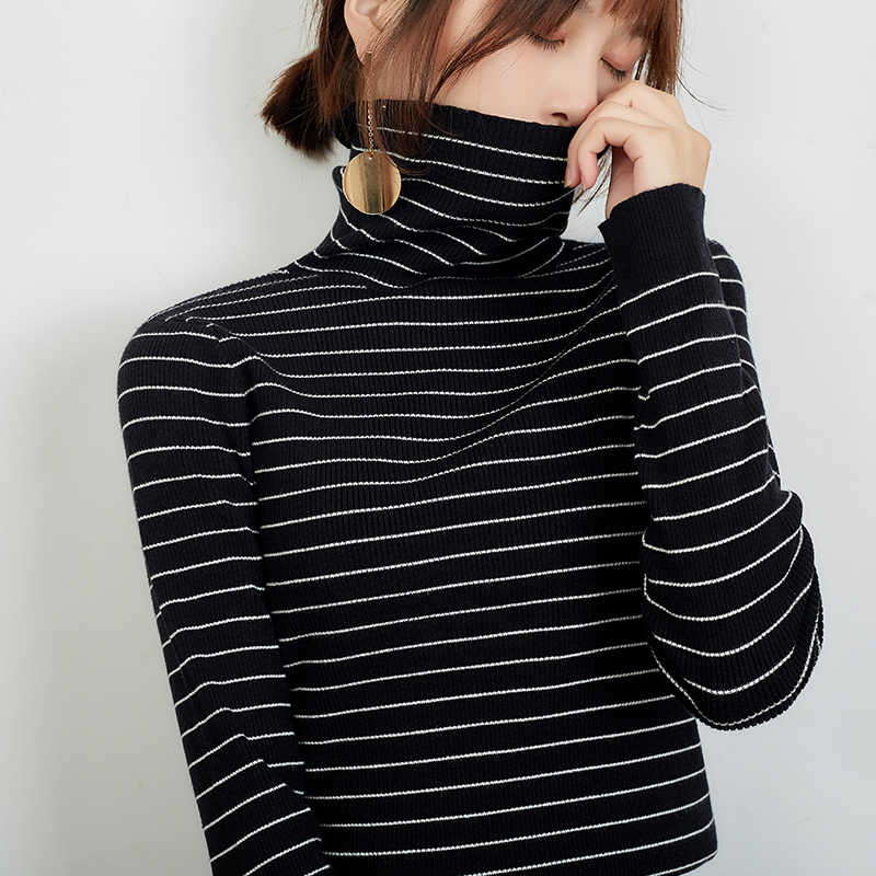 2019 new sweater women knitted sweater turtleneck pullover women Color bar Cashmere sweater fashion sweater winter clothes women