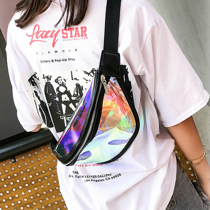 Women Gilrs Bum Bag Waterproof Transparent Clear Fanny Pack Hologram for Festival Money Wallet Travel Holiday Belt Pouch
