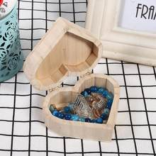 Heart Shape DIY Jewelry Wooden Box Storage Packaging Organizer Wedding Gift Box Home Storage for Earrings Ring Box Wood Case(China)