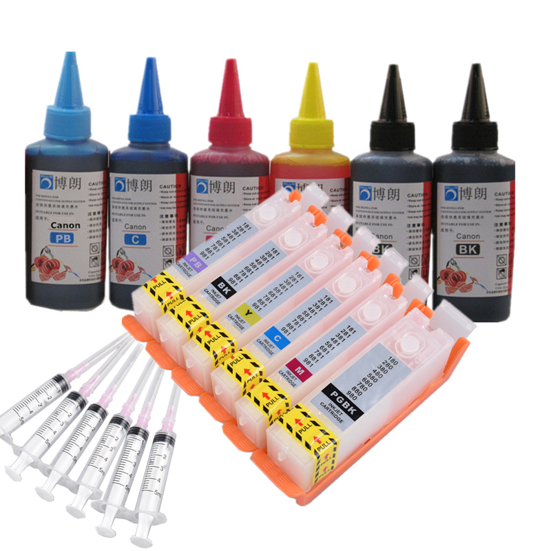 6 Ink Refill Ink Kit For PGI 580 CLI 581 Ink Cartridge  For CANON PIXMA  TS8150/TS8151/TS8152/TS8250/TS8251/TS8252/TS9150/TS9155