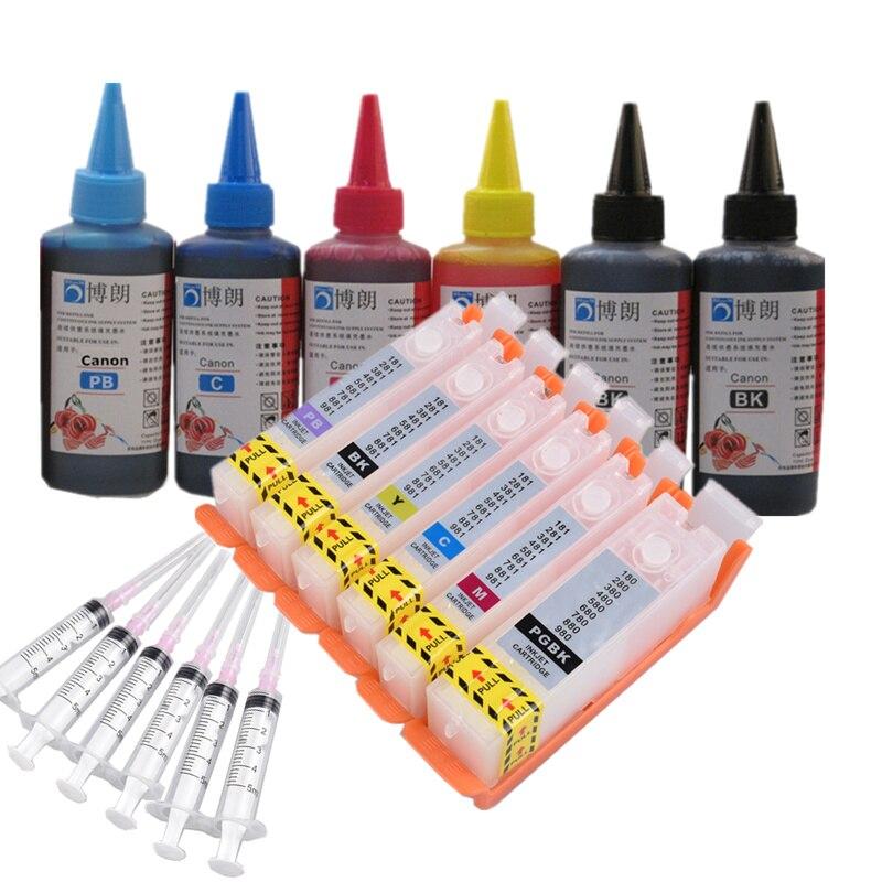 6 Ink Refill Ink Kit For PGI 780 CLI 781 Ink Cartridge For CANON PIXMA TS8170/TS8270/TS9170 Printer