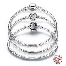 WOSTU orijinal 3 stilleri zincir bilezik 100% 925 ayar gümüş bileklik Fit DIY takılar boncuk kadınlar için kadın lüks takı hediye