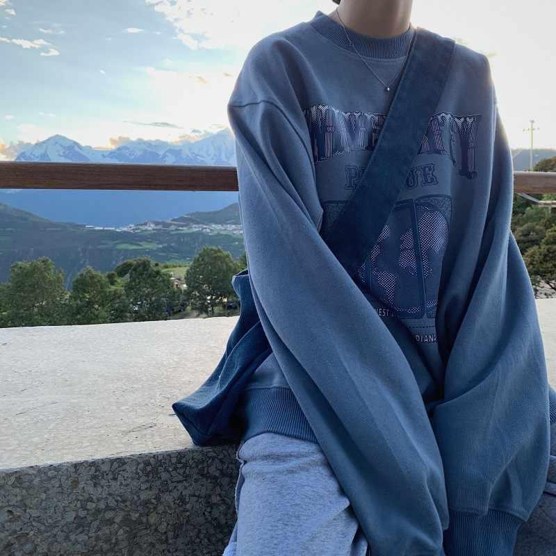 Herbst Winter Casual Frauen Dicken Abschnitt Süße Sweatshirt Koreant Stil Lose Langarm Pullover Tops Unisex Hoodies