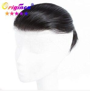 Originea 100% peruca de cabelo humano para o homem laço suíço base cabelo reto sistema brasileiro remy topper cabelo peças substituições