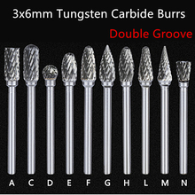 Jrealmer 5pcs 3x6mm Double Groove Tungsten Carbide Rotary Burrs 3mm Rob Head 6mm DIY Milling Cutter Tungsten Carbide Burr