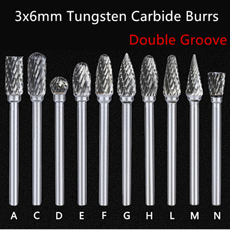 Jrealmer1pcs 3x6mm Double Groove Tungsten Carbide Rotary Burrs 3mm Rob Head 6mm DIY Milling Cutter Tungsten Carbide Burr