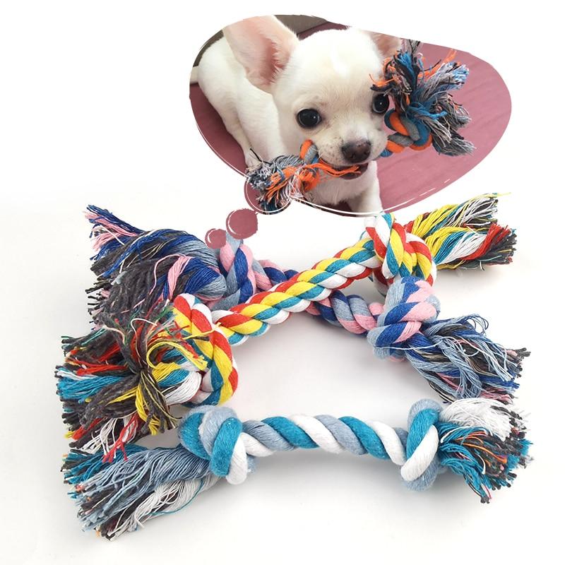 1 Pcs Hund Beißen Seil Spielzeug Haustiere Hunde Pet Supplies Haustier Hund Welpen Baumwolle Chew Knoten Spielzeug Durable Geflochtene Knochen Seil lustige Werkzeug Zufällige Farbe