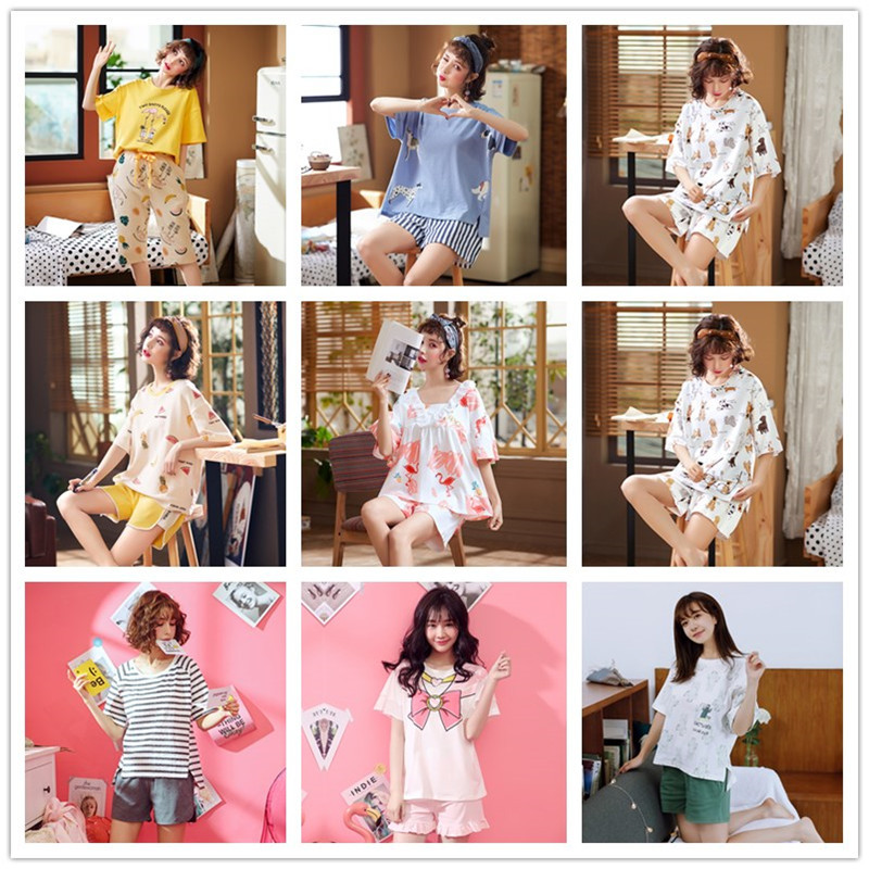 XINBAO # Pajamas Women's Summer 6535 Cotton Short Sleeve Shorts 22 Yuan Korean-style Cute Outer Wear Loose Tracksuit Case