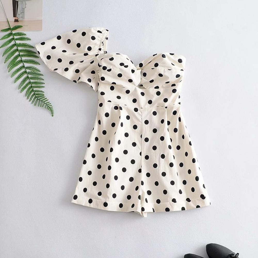 New 2020 Women Sexy Single Shoulder Polka Dots Print Chic Playsuits Female Ruffles Side Zipper Siamese Back Elastic Rompers P805