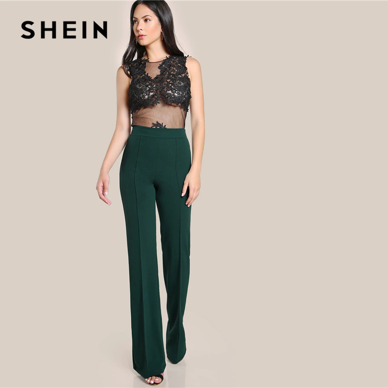 SHEIN Ginger High Rise Piped Pants Elegant Wide Leg Zipper Fly Plain Workwear Trousers Women Stretchy Highstreet Autumn Pants 2