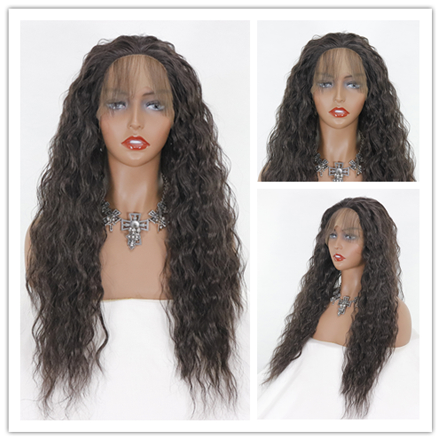 13*4 Long Hair Wigs Synthetic Lace Front Wig High Temperature Fiber with Baby Hair Loose Wave Natural color For Women Free ship
