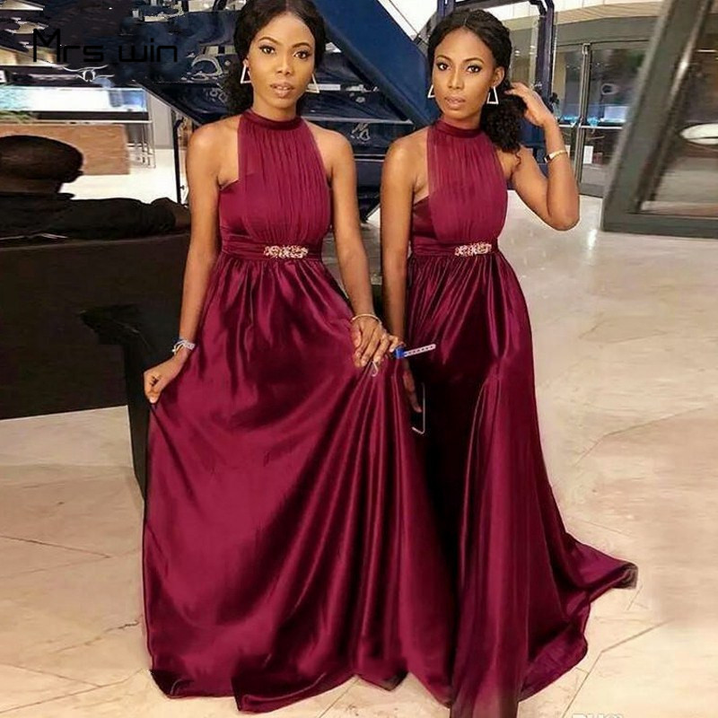 Mrs Win Bridesmaid Dresses For Women Burgundy Satin Sexy Halter Wedding Party Gowns HR349 Elegant A Line Long Vestido Madrinha