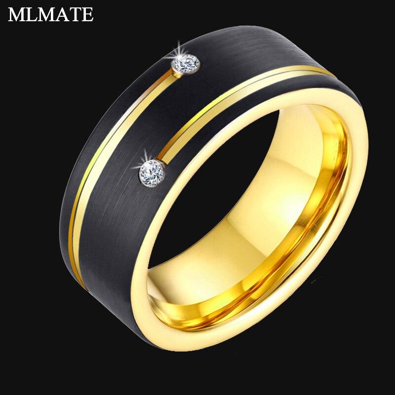 Bague en carbure de tungstène couleur or noir 100% pour hommes femmes alliance anniversaire incrusté brillant Zircon pierre anneaux bijoux
