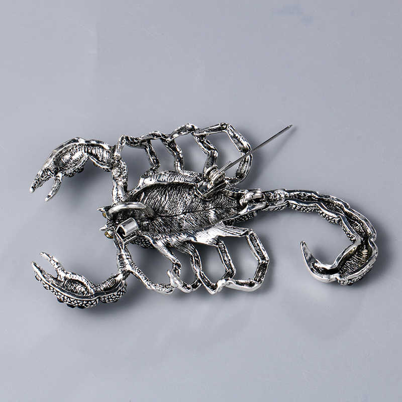 Baiduqiandu วินเทจโบราณเงินชุบโลหะสีดำ Rhinestones Scorpion เข็มกลัดสำหรับชาย