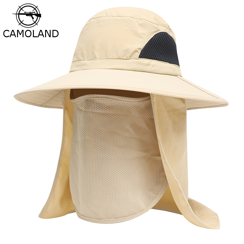 CAMOLAND Unisex Summer Sun Hat Male UV Protection Face Neck Flap Bucket Hats Female Waterproof Outdoor Fishing Hiking Boonie Cap