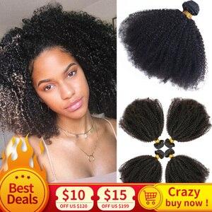 Монгольские афро кудрявые вьющиеся волосы плетение 3/4 пучки 100% натуральные черные Remy человеческие волосы пучки для наращивания без запутыв...