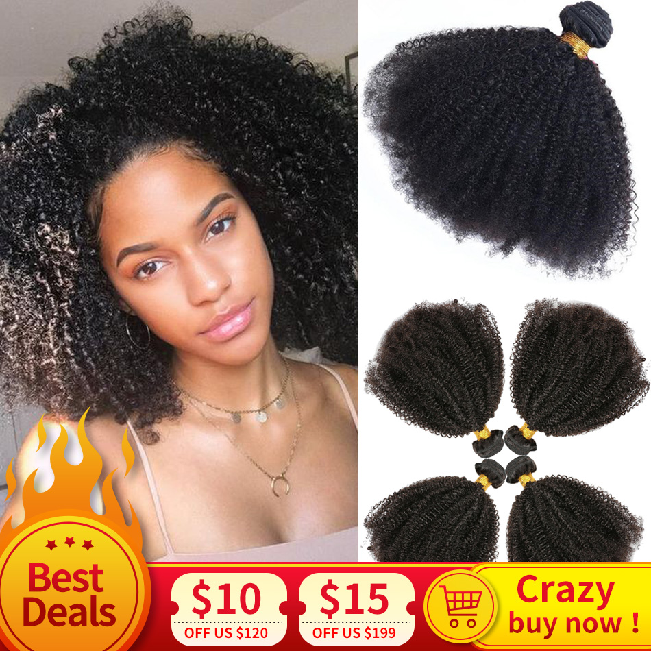 Hair-Weave Bundles Extension Human-Hair Afro Mongolian Kinky Double-Weft Remy Black 100%Natural title=