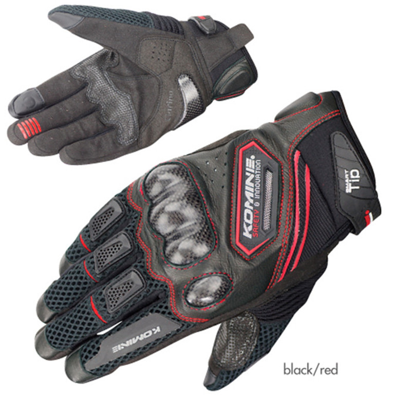 For KOMINE Gloves GK167 Carbon Fiber Motorcycle Gloves Leather Breathable 3D Knight Riding Gloves Dry 3 Colors Moto Guantes