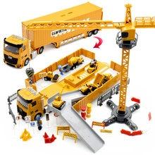 Liga de engenharia veículo com som e luz parque de estacionamento carro conjunto caminhão brinquedo para o menino escavadeira guindaste criança natal presente