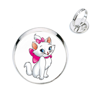 The Aristocats 16mm Glass Cabochon Rings Fashion Jewelry Cute Marie Anime Cat Cartoon Jewelry For Women Men Kids Gift image