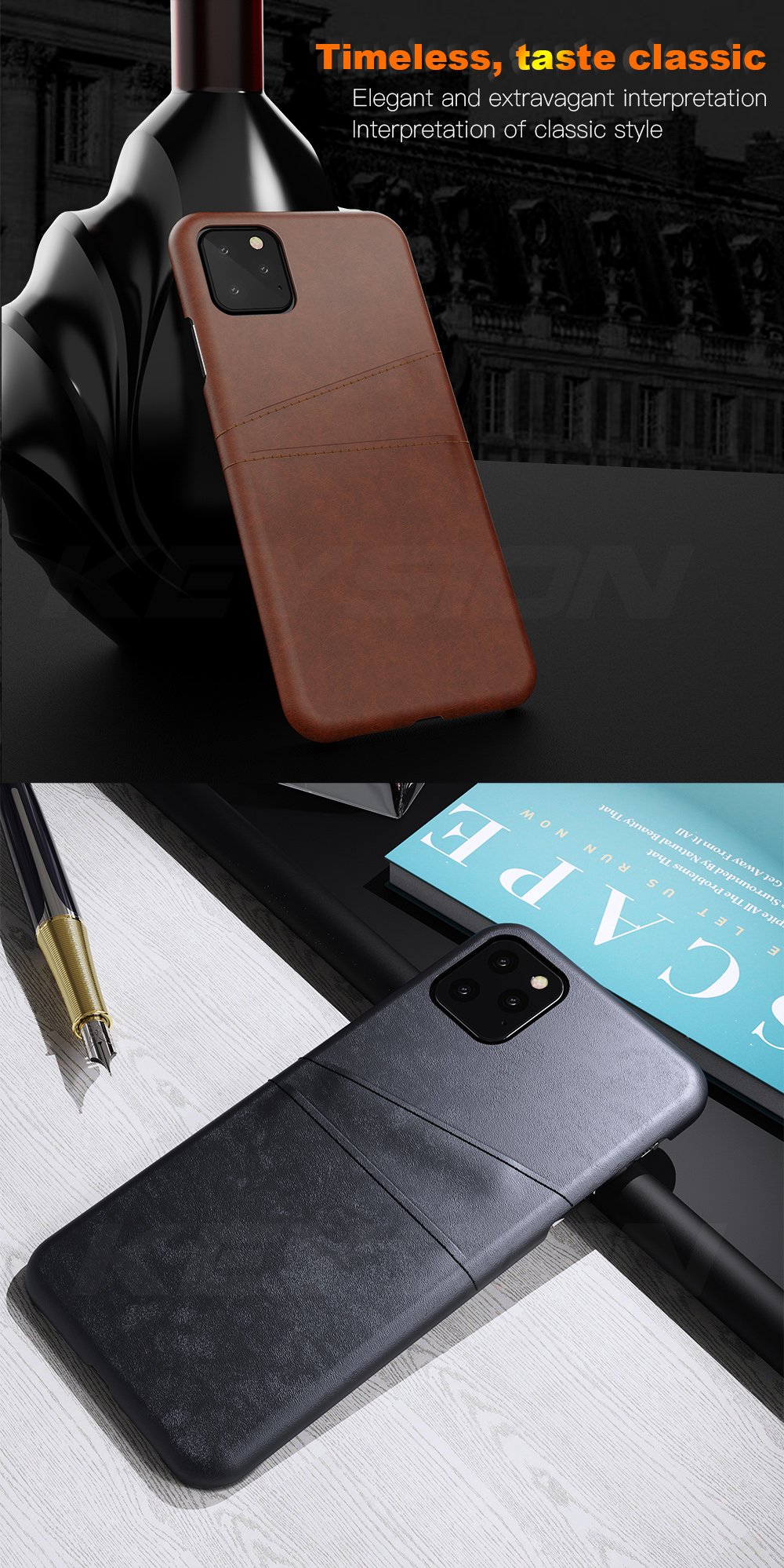 KEYSION Leather Card Pocket Cases for iPhone 11/11 Pro/11 Pro Max 3