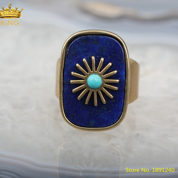 5pcs Natural Lapis Lazuli Gold Open Rings Jewelry Fashion Women Rectangle Beads Paved Gold Sun Flower Adjustable Ring HS-33KBBE
