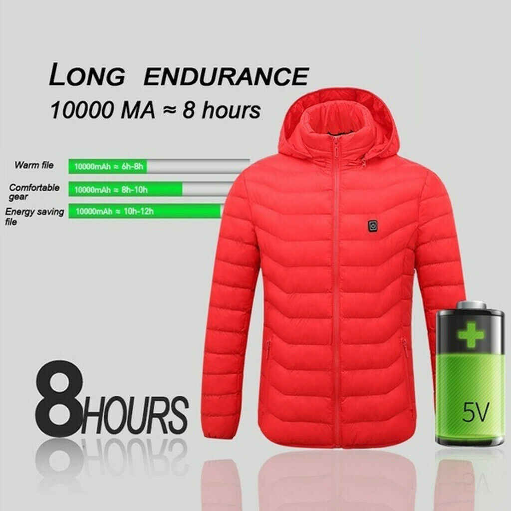 冬温水ジャケット男性熱加熱服屋外コートusb電池長袖加熱 2020 フード付きジャケット