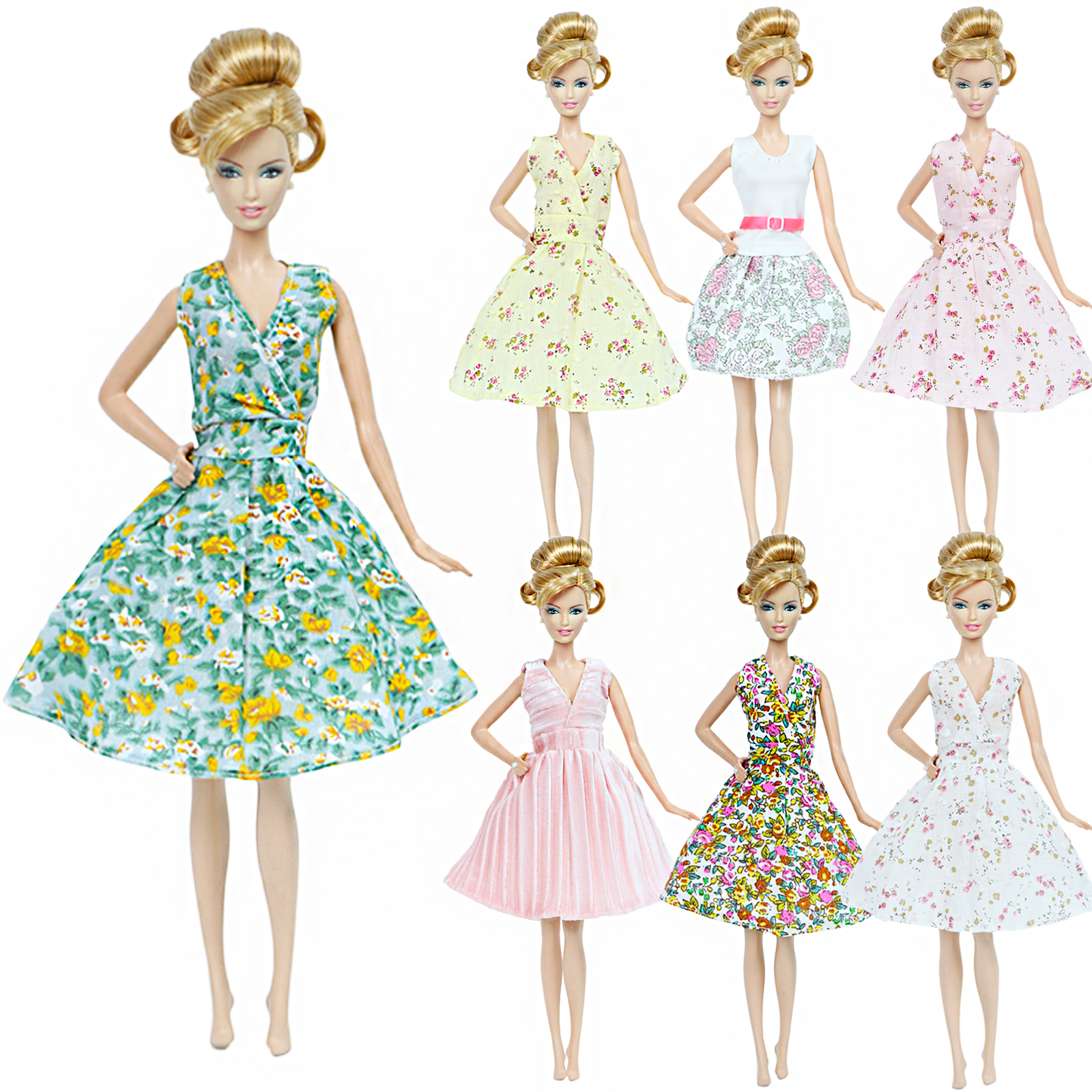 1 Pcs High Quality Fashion Dress For Barbie Doll Daily Wear Garden Fllower Yellow Green Short Skirt Clothes Accessories Kids Toy