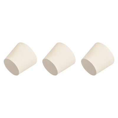 White Tapered Shaped Solid Rubber Stopper For Lab Tube Stopper Size 6 (25-33mm)3Pcs