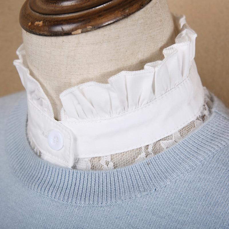 Blouse Fashion Autumn elegant Stand Neck Women Top Vintage court fake collar Winter Detachable Doll Collar Half Shirt Clothing