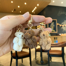 Cute Bear Plush Doll Key Chains Ring Woman Keychain Bag Charms Bell Toy Car Keyring Party