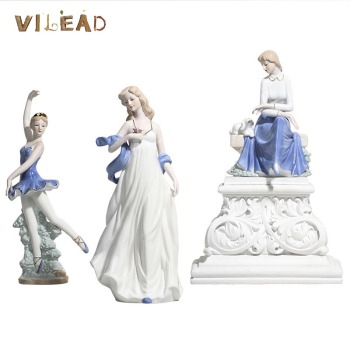 VILEAD Ceramic Ballet Girl Statue Figurines Fairy Garden Skirt Modern Beauty Sculpture Wedding Decoration Interior Home Decor