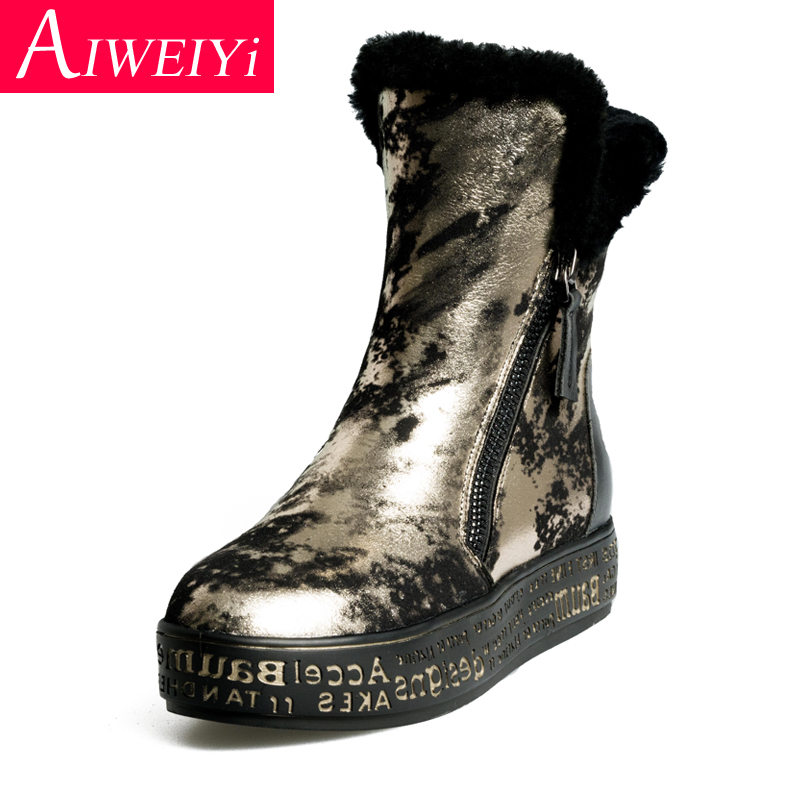 high fashion outlet store top brands Genuine Leather Woman Boots Wool Fur Snow Boots Gold Silver Flat ...