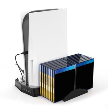 Dla PS5 pionowy stojak wentylatora chłodzącego do PlayStation 5 Digital Edition z 14 gniazdami gier 3 Port Hub podwójny kontroler ładowania Stat tanie i dobre opinie ALLOYSEED CN (pochodzenie) Brak For PS5 Vertical Stand Controller Charger