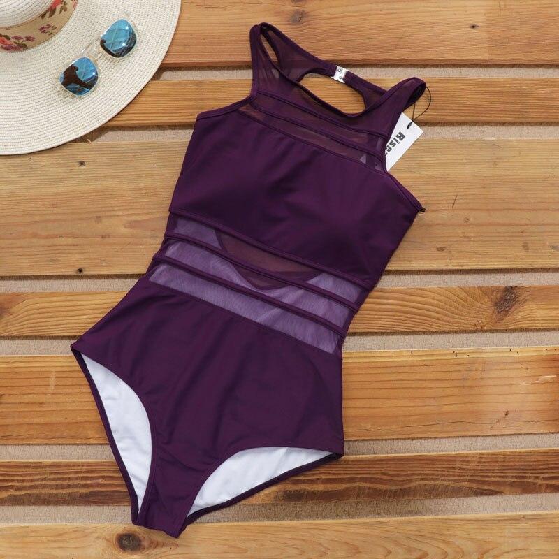 Riseado Women Swimsuit One Piece 2020 Push Up Swimwear Mesh High Neck Bathing Suit Summer Beach Wear Sexy Backless Swim Suits 4