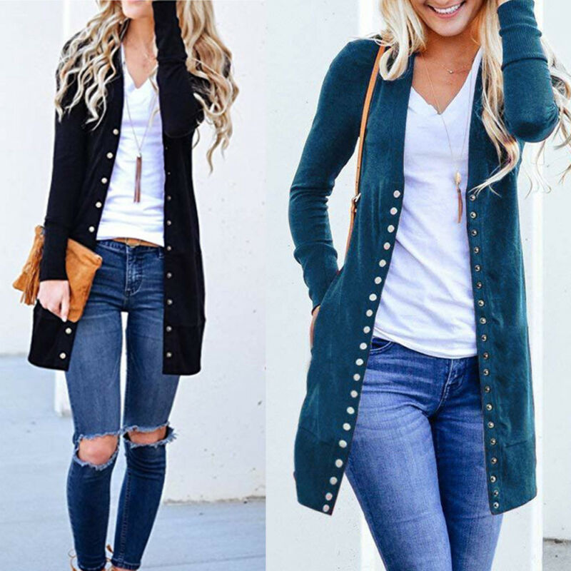 Hirigin Women Ladies Autumn Long Jacket Coat Button V Neck Long Sleeve Slim Knitted Cardigan Outwear