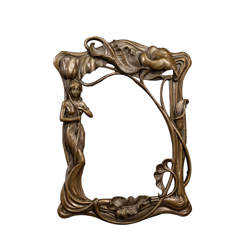 Bathroom accessories bronze wall sculpture with lady statue Decorative mirror