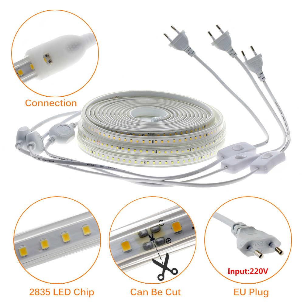 Tira de LED de 220 V, 2835 de alta seguridad, alto brillo, 120 ledes/m, luz LED Flexible, tira de luz LED impermeable para exteriores.