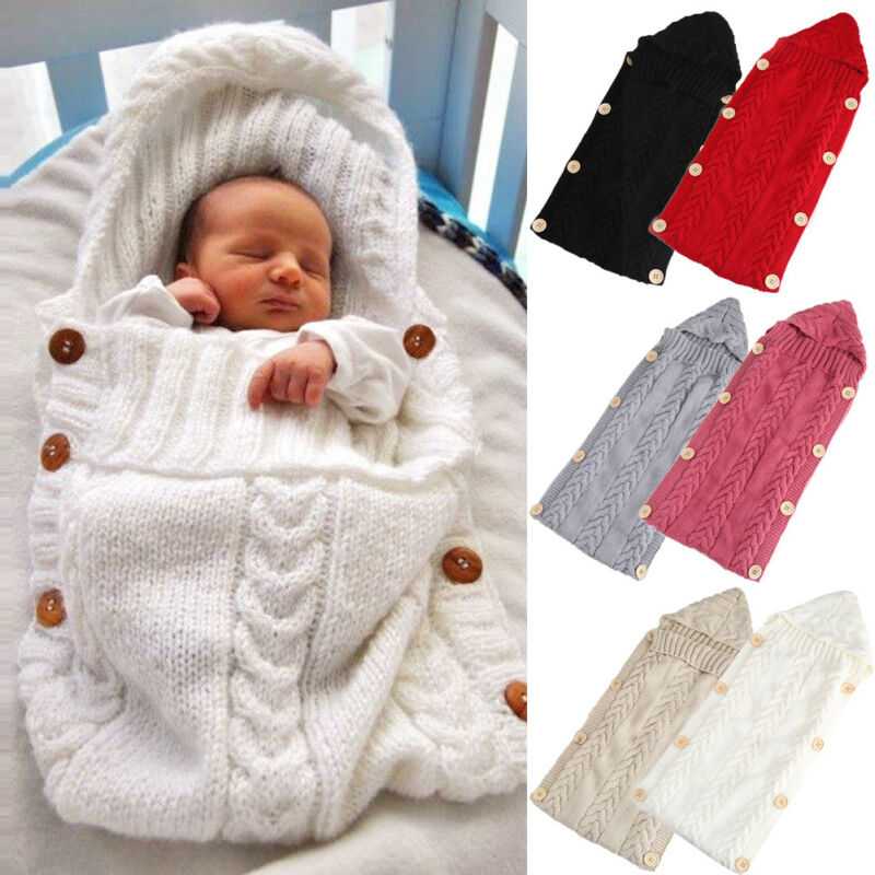 Newborn Infant Baby Boy Girl Blanket Knit Crochet Winter Warm Swaddle Wrap Sleeping Bag Solid Buttons