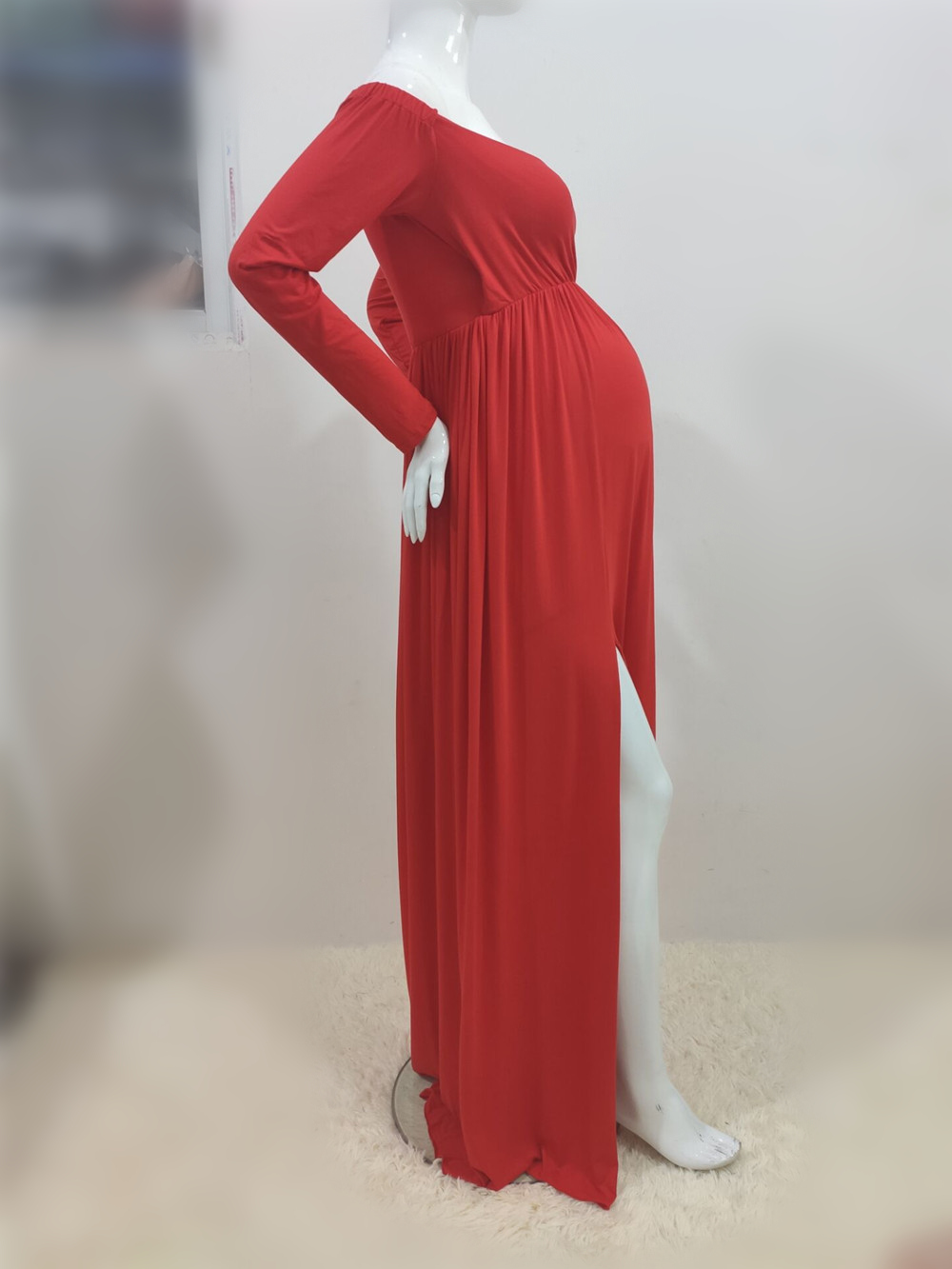 Long Shoulderless Maternity Photography Props Dresses Sexy Split Front Pregnancy Dress Photo Shoot For Pregnant Women Maxi Gown (5)